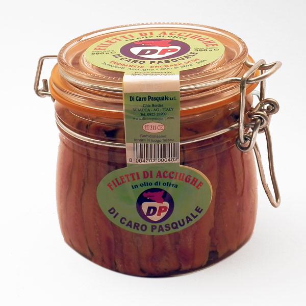 Acciughe in Olio Extra vergine di Oliva 580 gr. Di Caro Sciacca