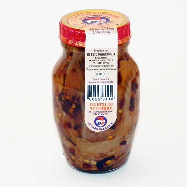 Acciughe al Peperoncino in Olio Extra vergine di Oliva 160 gr. Di Caro Sciacca