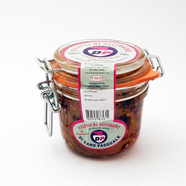 Acciughe al Peperoncino in Olio Extra vergine di Oliva 230 gr. Di Caro Sciacca